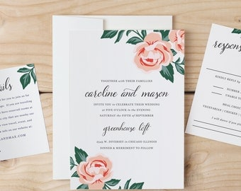 DIY Wedding Invitation Template - Colorful Floral - Word or Pages MAC or PC - Change the colors & text -| Print at Home - Instant Download