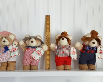 Four Different Furskins Bears From Wendy's 1986. Stuffed Bears, Meal Toys, Dressed up Bears, Country Bears, Overalls and Hats