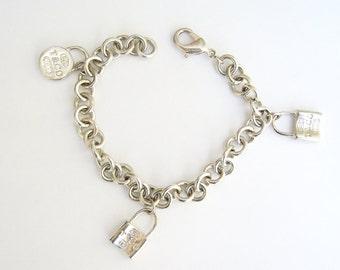 "Vintage Tiffany & Co 925 Sterling Silver Padlock Lock Charm Bracelet 8"""