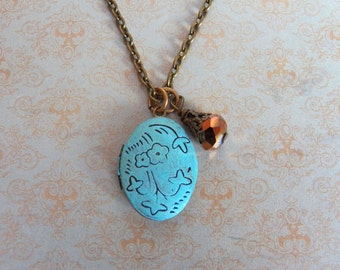 SALE - A Promise Renewed - Necklace, Vintage Style Photo Locket, Floral Brass Pendant, Hand-Painted Turquoise Patina Jewelry Gifts