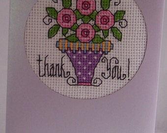Thank You Handmade completed cross stitch  card, greeting card, hand stitched cross stitch card, thank you notelet card