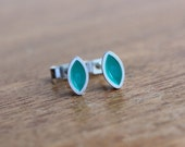 Anise Turquoise Earrings - Turquoise Enamel Stud Earrings