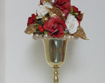 CLEARANCE!! Mini Tree Topiary Decor Roses Christmas Star