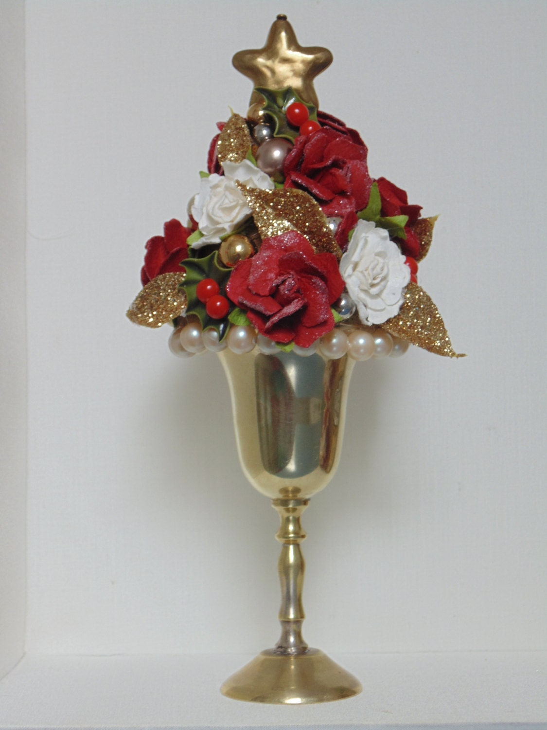 Clearance mini tree topiary decor roses christmas star for Christmas decorations clearance