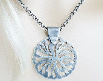 Pierced silver pendant - silver lace - handsawn pendant - artisan crafted