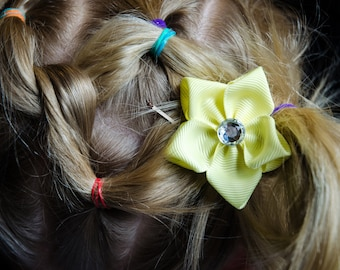 Hair Bow - Yellow Grosgrain 5 Petal Hair Flower