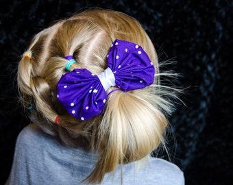 Hair Bow - Purple Polka Dot Bubble Bow Girls Hair Bow, Baby Hair Bow