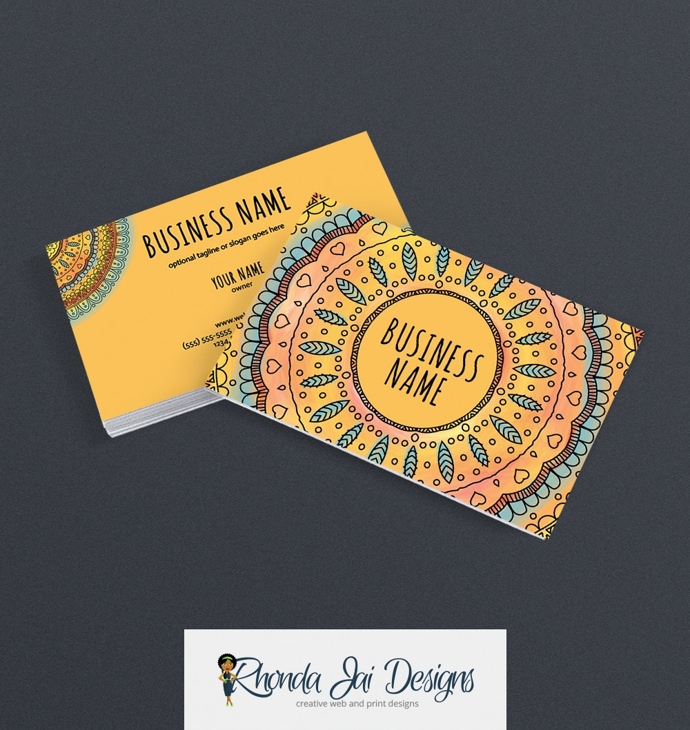business card designs colorful business card boho card