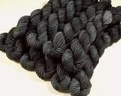 Mini Skeins - Hand Dyed Sock Yarn - Sock Weight 4 Ply Superwash Merino Wool Yarn - Slate Grey Tonal - Knitting Yarn, Charcoal Gray