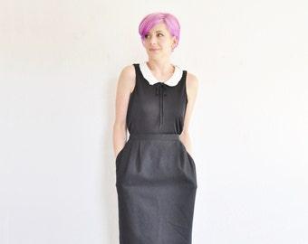 classic black skirt . pleated high waist . knee length .large .sale s a l e