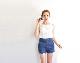 high waist scallop shorts . navy blue cotton tap pant . summer short .medium