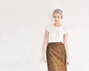 African batik maxi skirt . dark gold . waxed cotton print .large.extra large.xl .sale s a l e