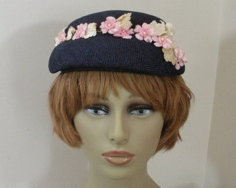 Vintage Navy Blue Straw Hat with Pink White Pearl Flowers