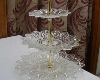Vintage 3 Tier Petal Glass Tidbit Tray - Server