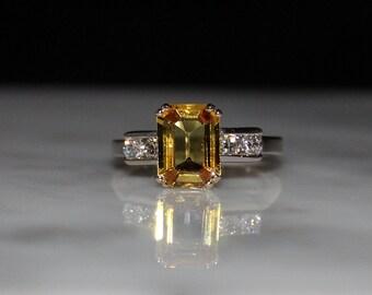 Sapphire Ring, Yellow Sapphire Ring, Ceylon Sapphire, Diamond Engagement Ring/Appraisal Included