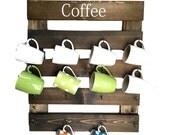 Coffee mug rack, coffee cup holder, mug display, reclaimed wood, kitchen storage, kitchen decor, coffee bar rack, wall cup rack, 16 mug rack