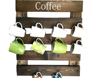 Coffee mug rack, coffee cup holder, mug display, reclaimed wood, kitchen storage, kitchen decor, coffee bar rack, wall cup rack, 16 mug rack