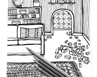Coloring Page - The sitting room - Download