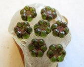 NEW TINY GREEN Blossoms . Czech Pressed Glass Flower Beads . 8 mm (20 beads)