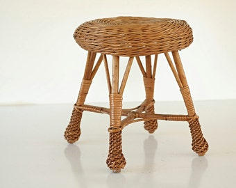 Wicker Rattan Woven Stool Bamboo Plant Stand Patio Mid Century Small Yugoslavia Italy Inside Furniture Foot Ottoman  TheHeartTheHome.com