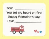 Fire Truck Valentines - Fill in the Blanks Valentine's Day Cards - Great for Preschoolers and Firemen