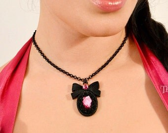 Pink cabochon  Pendant , black bow setting, gothic