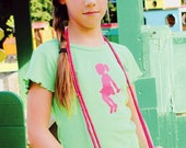 Jumping for Joy Nostalgic Graphic Tee in Short Ruffle Sleeves - Lime with Bright Pink