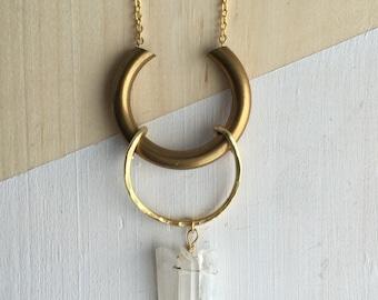 Double Open Circle Quartz Necklace | N31609