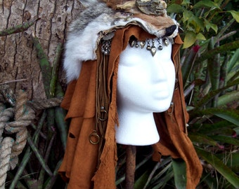 Wasteland Shaman Headdress -- burning man wasteland weekend xena shamaness mad max tribal fusion larp barbarian apocalyptic