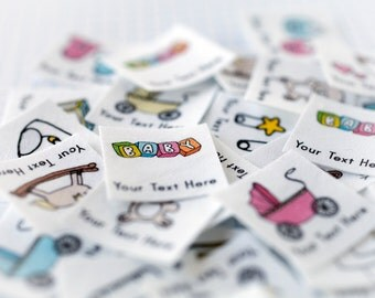 75 Baby Clothing Labels - Iron On Organic Cotton Tags (Personalized Babies' Labels)