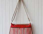 Tansy Zippered Tote in Striped Canvas with Red Canvas and Brown faux leather