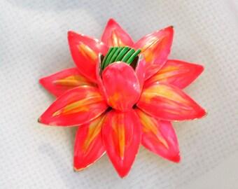 Hattie Carnegie Brooch Pin Vintage 50s Flower Jewelry Orange Yellow Green