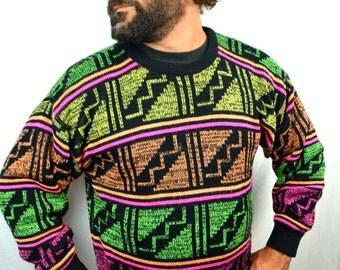 Vintage NEON 80s FUN Geometric Sweater