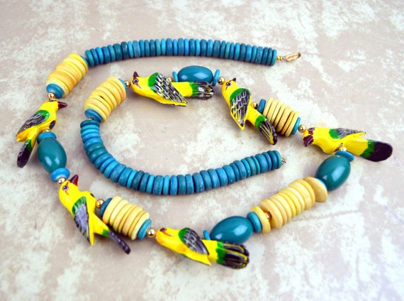 vintage wooden chunky style wood bead necklace
