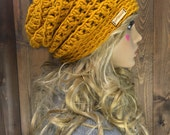 Crochet Ribbed Brim Slouchy Slouch Crochet Beanie Hipster Hat - THORNHILL - MUSTARD