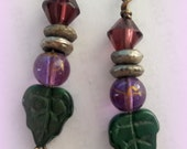 Tiny Vintage Green Leaf and Amethyst Earrings
