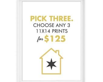 You Pick 3 11x14 Giclée Prints // The Perfect 11x14 Trio // Custom Set of 3