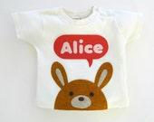 Organic Bunny Personalized Baby T-Shirt, Baby Shower Gift, Baby Girl