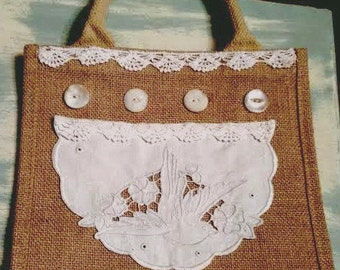 One of a Kind BURLAP Tote with  Vintage Dove Doily, Lace and Buttons Decoration OFG RDT ATGCele