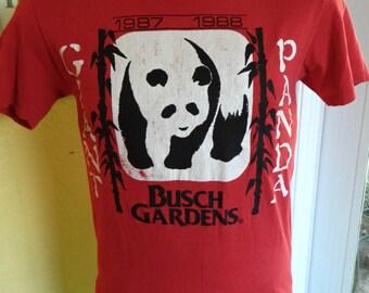 Giant Panda 1988 Busch Gardens vintage tee shirt - red size medium
