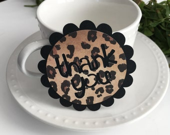 THANK YOU Gift Tags - Leopard Print Thank You Party Favor Tags - set of 9 - Birthday Party, Baby Shower, Bridal Shower Party Favor Tags