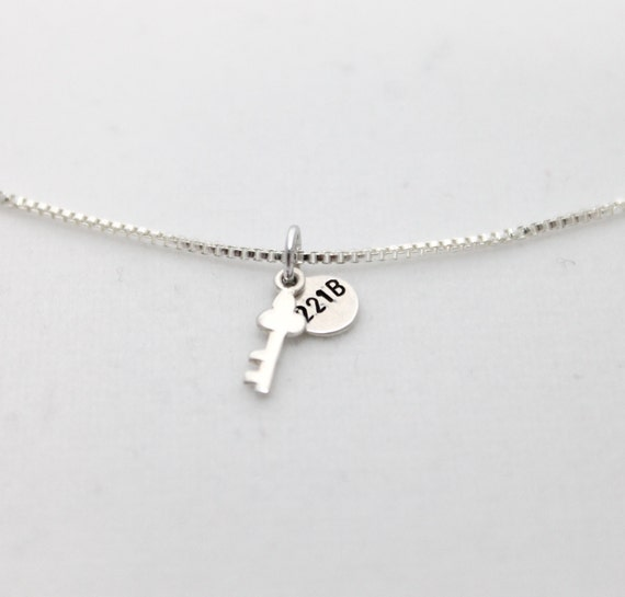221B Necklace, Tiny Key Necklace, Dainty Necklace, Sherlock Jewelry, Fan Jewelry, Geek Gift