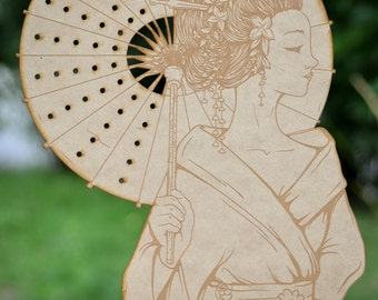 SALE Geisha Japanese Woman with Parasol Earring Holder Jewelry Organizer Laser Engraved Wood Large Display Stand Asian Eastern