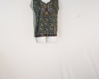 Ethnic Boho Embroidered Top Blouse Blue & Gold Geometric Print M