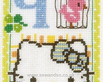 Sanrio Hello Kitty cross stitch COMPLETE KIT. Perfect for new baby.