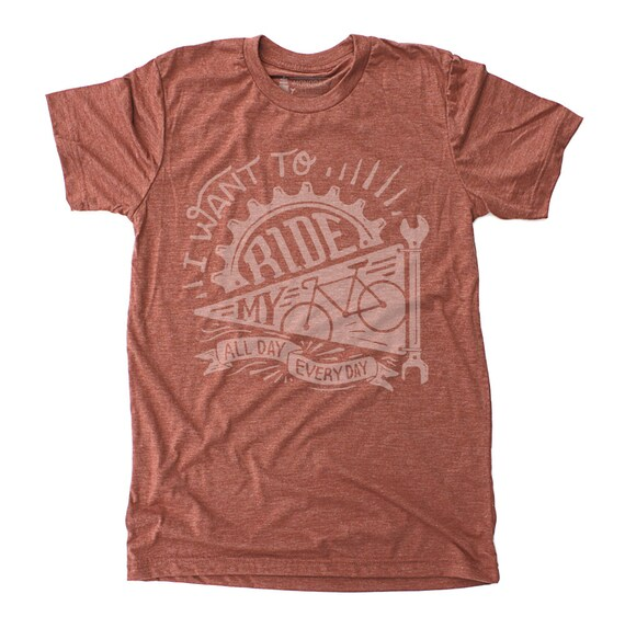 Cycling Shirt - Mens Ride My Bike Graphic Tee - screenprinted bicycle red tshirt, retro gift for cyclist
