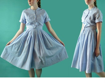 Vintage 50s Day Dress / Lillian Russe 50s Dress / Blue Cotton Gingham Check Shirtwaist Dress / Full Skirt Notched Sleeve Vintage Dress S