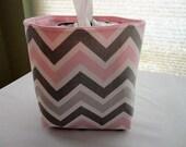 Mini Baskets Fabric Storage Organizer Bins - Chevron Pink and Gray Zig Zag - Tissue Holder -