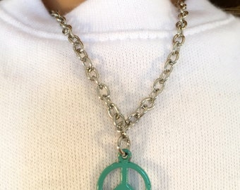American Girl Sized Necklace With a Turquoise Peace Sign Charm on a Silver Chain