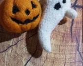 Catnip Toys Needle Felted Halloween Ghost and Jack-o-Lantern set Cat Kitten